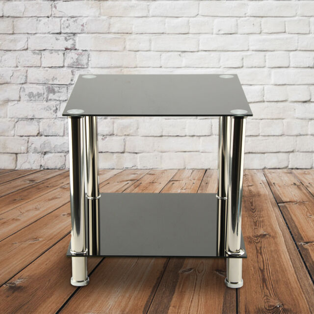 Black 2 Tiers Glass & Stainless Steel Small Display Stand Side Lamp Coffee Table