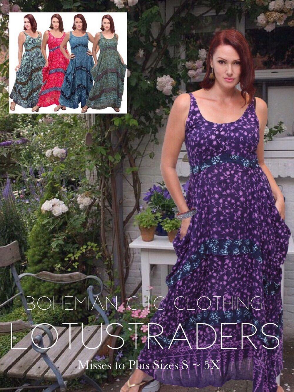 VINTAGE ROBE LONGUE-cravaters Art Gauzy Batik-Empire waistlinet 775 LOTUSTRADERS