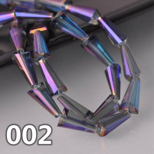 20pcs 16x8mm Cone Drops Faceted Crystal Glass Loose Craft Beads Jewelry Findings