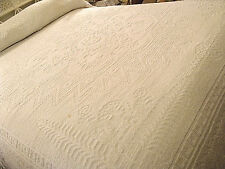Candlewick Chenille Fringed Bedspread Spirit of America Vtg White 92x120 Full-Qn
