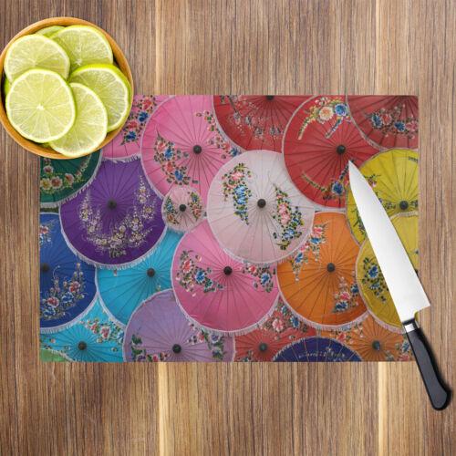 Pink Red Yellow Umbrellas Glass Chopping Board Kitchen Worktop Saver