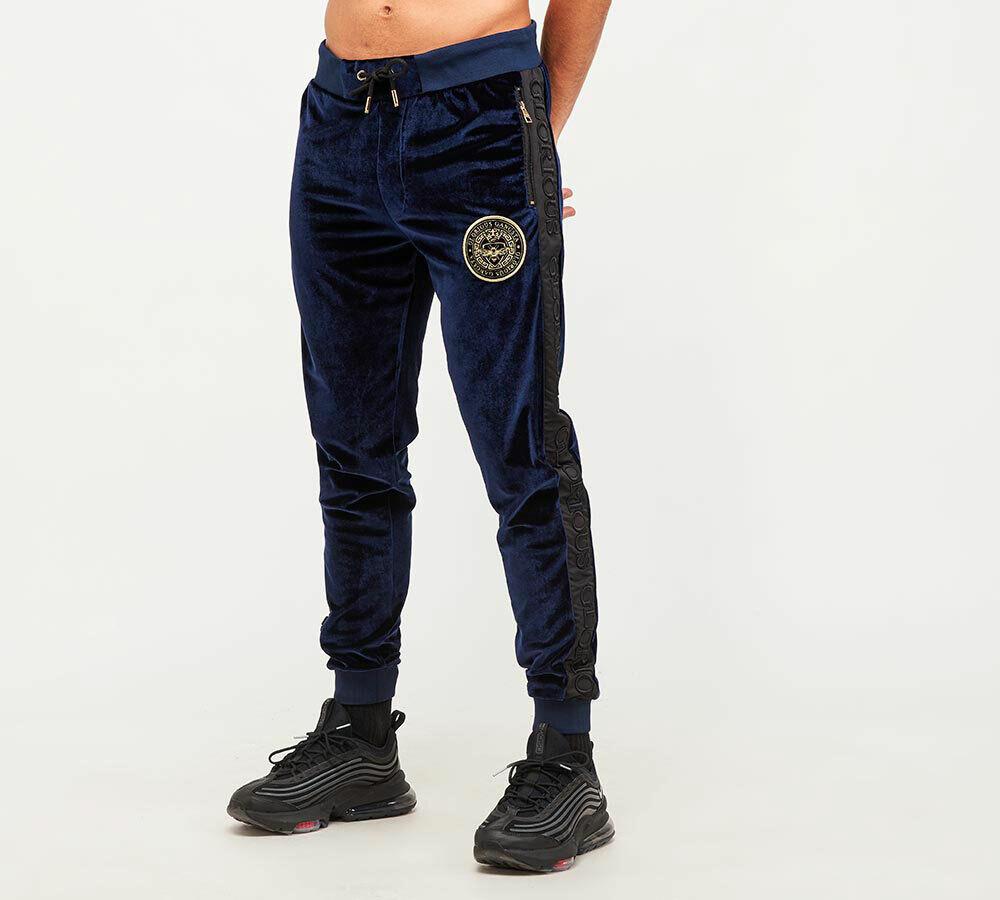 Glorious Gangsta Mens New Velour Joggers Bottoms Zip Pockets Mateo Velour Navy