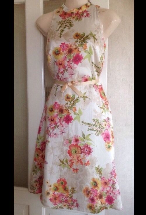 BNWT   Next   Size 16 Petite Floral Print Silky Dress Day Holiday Summer  New