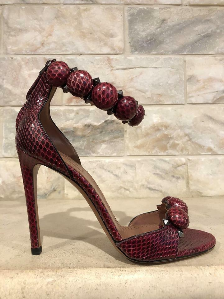 NIB Alaia Bombe 110mm Red Snakeskin Studded Ankle Strap Sandal Heel Pumps 38