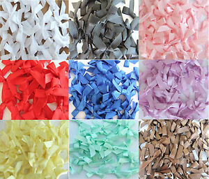 100-Satin-Ribbon-Bows-7mm-For-Wedding-Invitation-Card-Making-Choice-25-Colours