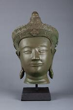 "Beautiful Antique Style Green Thai Bronze Sukhotthai Buddha Statue - 31cm/12"""