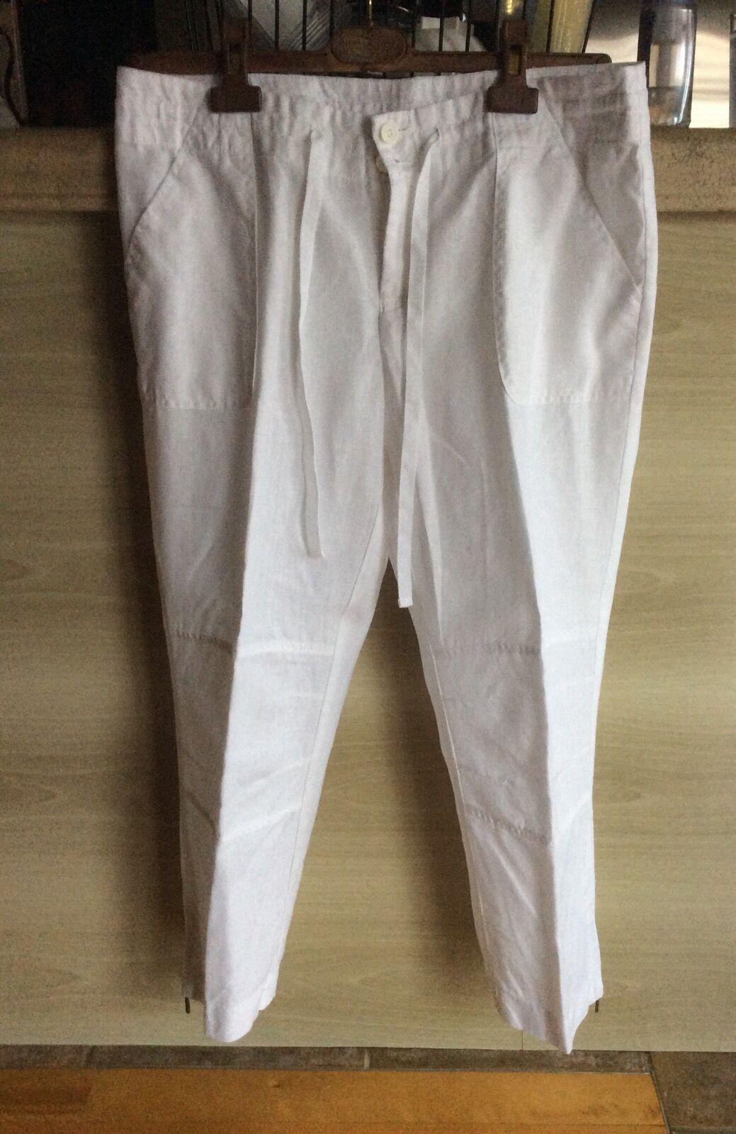 Inc International Cropped White Linen Drawstring  Pants Size 8