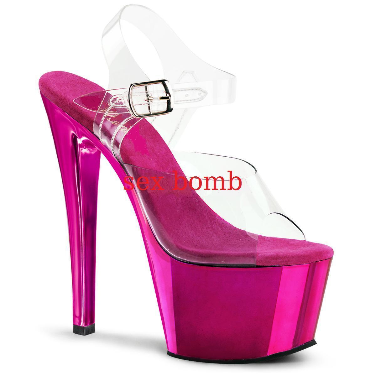 SEXY sandali PLATEAU TACCO 18 da35 a 44 ROSA ACCESO/TRASPARENTE fashion GLAMOUR