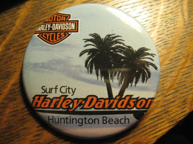 Huntington Beach CA Surf City Harley Davidson USA Advertisement Lapel Button Pin