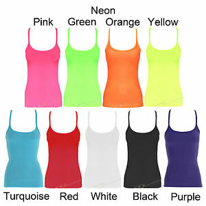 WOMENS-NEON-PARTY-VEST-TOP-PINK-GREEN-YELLOW-ORANGE-WHITE-BLACK-8-10-12-14-16