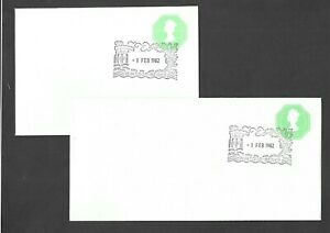 First-Day-Covers-1982-Stationery-QEII-121-2p-Envelopes-size-N-amp-Q-DL-EP141-amp-142