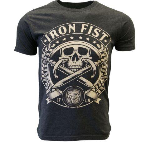IRON FIST T SHIRT PIRATE SKULL CHARCOAL TEE