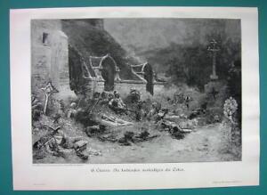 CEMETERY-Living-Defend-Fallen-Dead-French-Chouan-Revolt-VICTORIAN-Era-Print