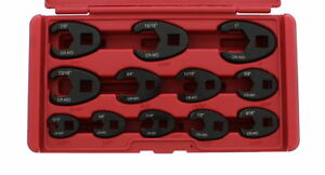 """ABN Jumbo Crowfoot Flare Nut Wrench SAE Set, 3/8"""" & 1/2"""" Drive Ratchet 12 Pieces"""