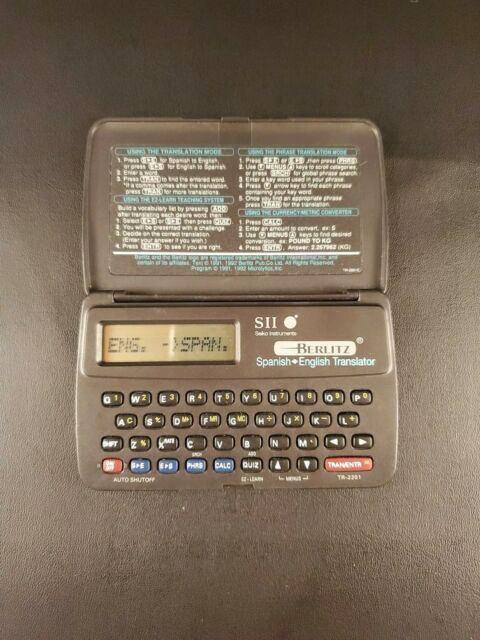 Seiko SII Berlitz Spanish English Dictionary Electronic Translator TR-2201  Used