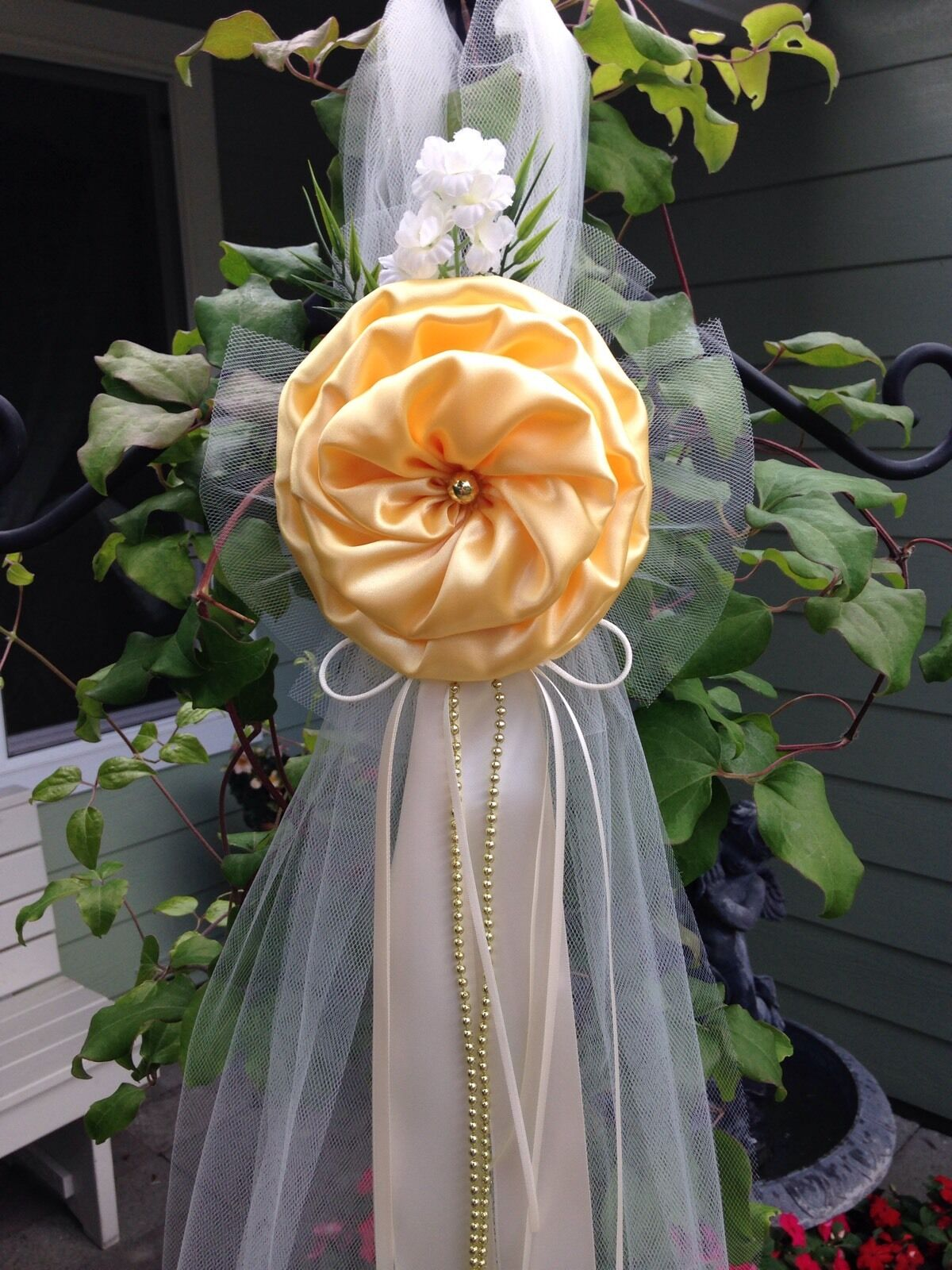 Lot De 6 Mariage Décorations Jaune Chaise Bows Pew Bows église autel décor.