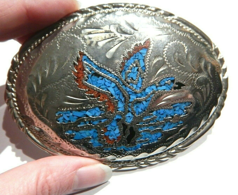 vintage silver-tone duck western belt buckle rodeo cow boy girl blue mosaic H1