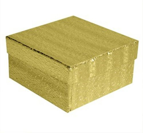 "Wholesale 200 Gold Cotton Fill Jewelry Packaging Gift Boxes 3 1//2/"" x 3 1//2/"" x 2/"""