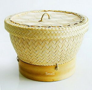 Thai Sticky Rice Cooker Steamer Bamboo Basket Lid Food Dim