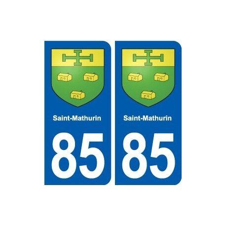 85 Saint-Mathurin blason autocollant plaque stickers ville -  Angles : arrondis