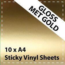 10 x A4 Gloss Mettalic Gold Sticky Vinyl Sheets - Craft Robo, CriCut & Crafts