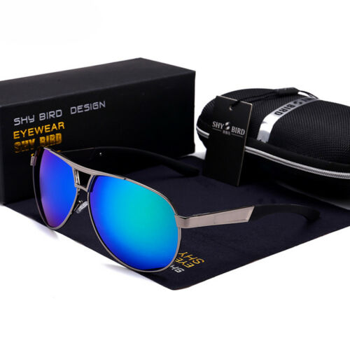 New Polarized Sunglasses Men Retro Aviator Metal Outdoor Drving Eyewear Glasses