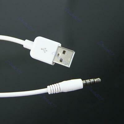 Shuffle 2nd 3.5mm USB Data Sync Charging Cable Adapter for Apple iPod White