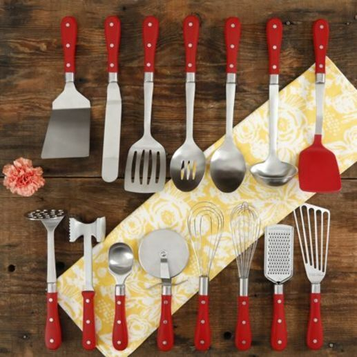 Admirable Pioneer Woman 15 Piece Kitchen Cooking Utensil Tool And Gadget Set Red New Interior Design Ideas Clesiryabchikinfo