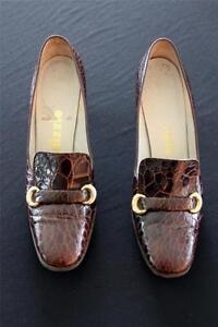 VERY-RARE-VINTAGE-1960-039-S-BROWN-ALLIGATOR-SHOES-SIZE-7-1-2-3A-WIDTH