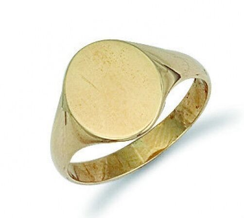 gold Signet Ring Men's 9 Carat Yellow gold Oval Engagement Ring Gents Hallmarked
