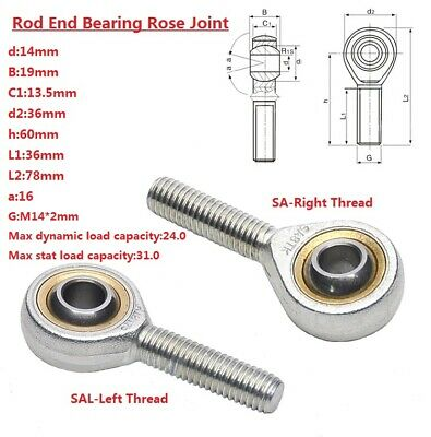 2pcs 4mm right hand male outer thread metric rod end joint bearing SA4T//K POSA4