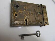 antique Russell Erwin RE CO. USA Rim Door Knob Lock & KEY