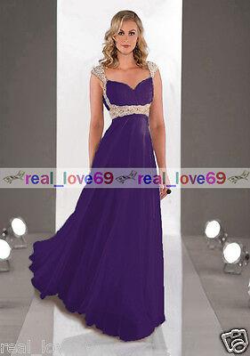 Stock Chiffon Straps Long Formal Ball Evening Party Bridesmaid Dress Size 6-16