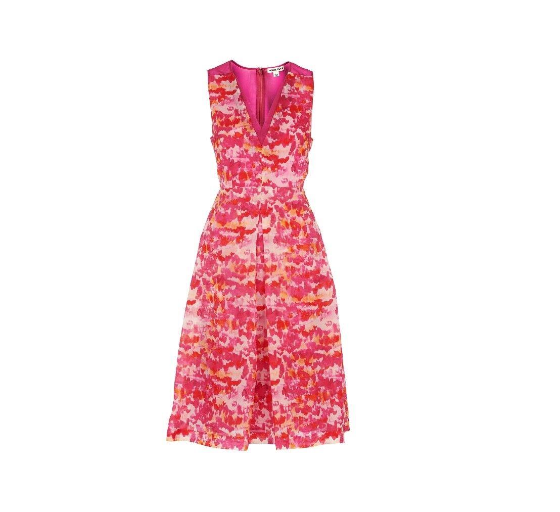 Whistles -- -Acquerello Vestito Di Seta-Multi rosa-nuova con etichetta-Taglia 10
