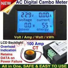 100A Digital AC Meter Voltmeter LCD Watt Volt Amp Power Electric Energy Current