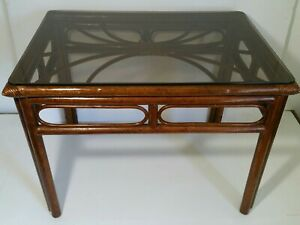 Details About Vintage Bamboo Cane End Table With Glass Top Regency Chinoiserie