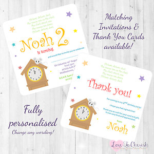 Image Is Loading Hickory Dickory Dock Personalised INVITES THANK YOU Birthday