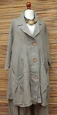 LAGENLOOK 100% LINEN BEAUTIFUL A-LINE 2 POCKETS JACKET***BEIGE***BUST UP TO 50""