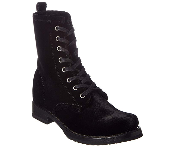 New in Box Frye Women Veronica Combat Boots Black VELVEY 3476545-BLK SIZE 6.5