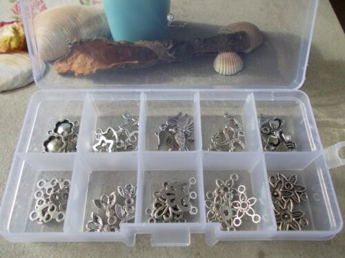 40 PIECE CONNECTOR KIT,SILVER COLOUR CONNECTORS FOR JEWELLERY MAKING EARRING L9