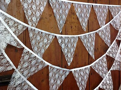 Traditional bunting vintage style white lace wedding, christening, 5 mt 29 flags