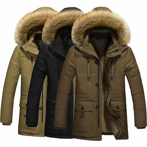 Men-039-s-Fur-Collar-Warm-Down-Cotton-Jacket-Thick-Winter-Hooded-Parka-Coat-Outwear
