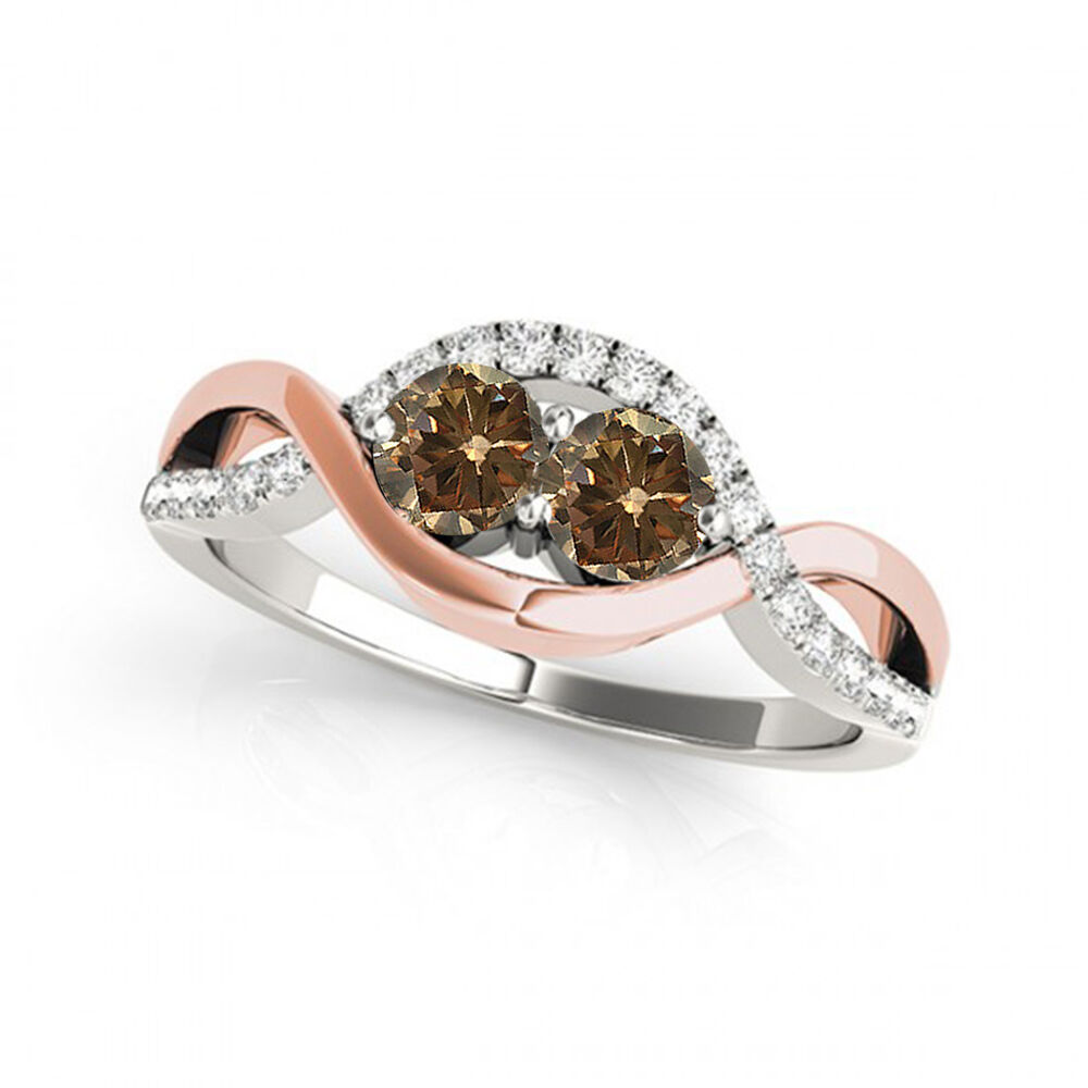 1.13  Carat Brown VS2-SI1  Diamond Solitaire Engagement Ring 14k pink&White gold
