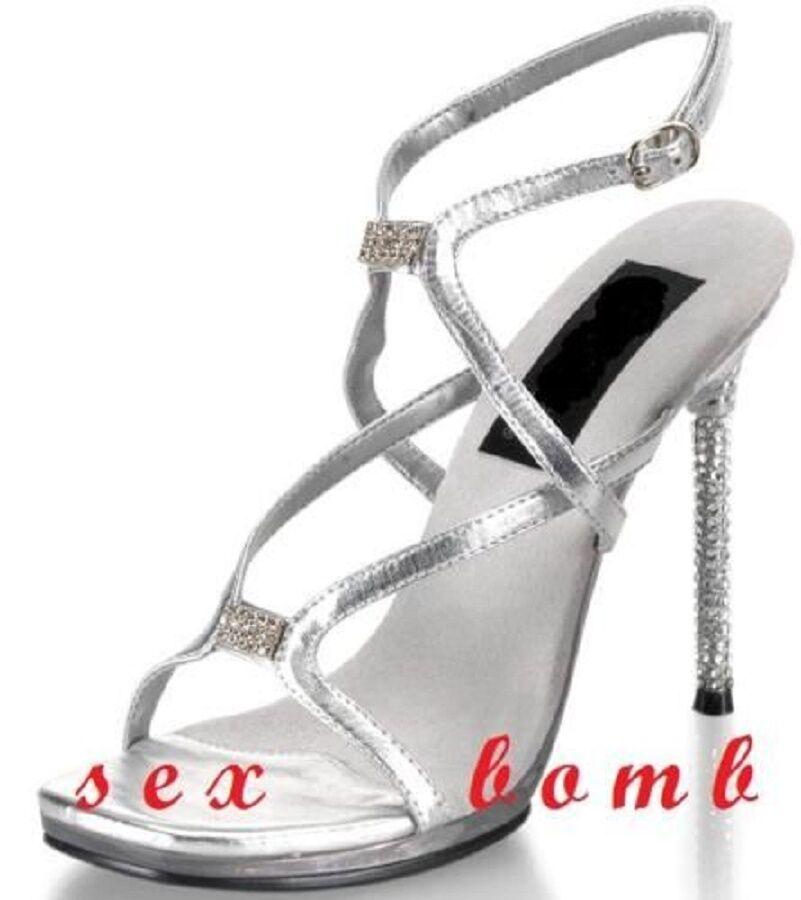 Descuento por tiempo limitado SEXY sandali ARGENTO brillantini tacco STRASS 11 numero 38 fashion GLAMOUR !