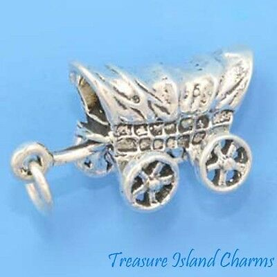 Cubierto Settler Wagon Pradera Schooner Movible 3d .925 Dije Plata Esterlina Can Be Repeatedly Remolded. Jewelry & Watches