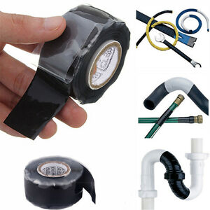 Black Rubber Silicone Repair Waterproof Bonding Tape Rescue Wire FT Fusing Self