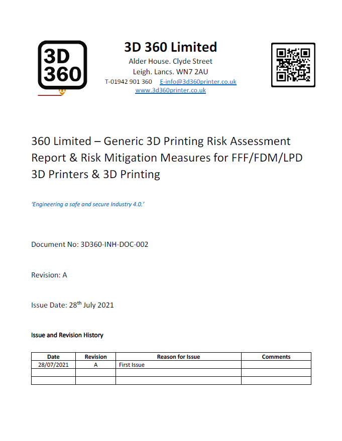 3D Printing Risk Assessment & Reduction Report