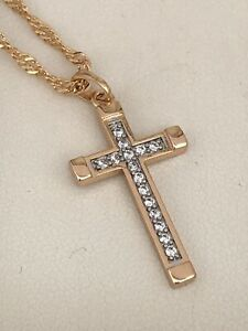 """LARGE 9ct Gold gf Crucifix cross and 18/"""" chain necklace"""