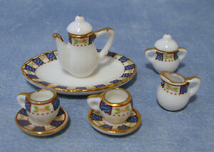 1-12-Scale-8-Piece-Ceramic-Coffee-Tea-Set-Tumdee-Dolls-House-Accessory-2103