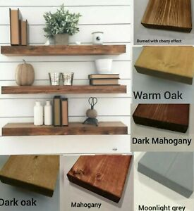 Rustic-Floating-Shelves-Industrial-Mantle-Shelf-Solid-Wood-Brackets-Handmade